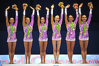 September 13, 2009; Mie, Japan;  Italian rhythmic group wins gold in ropes + ribbon Event Final at the 2009 World Championships Mie, Japan. (L-R) Romina Laurito, Daniela Masseroni, Elisa Blanchi, Anzhelika Savrayuk, Elisa Santon, Giulia Galtarossa. Photo by Tom Theobald .