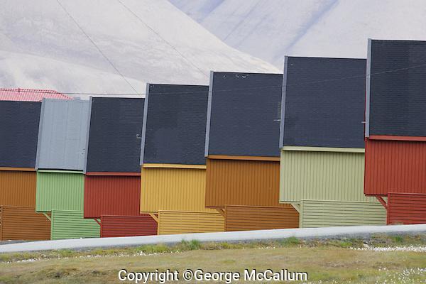 Brightly coloured houses in Longyearbyen on Spitzbergen.