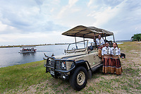 Africa, Botswana, Kasane, Chobe Game Lodge, Chobe National Park. Announcement of the new solar powered electric safari game viewing vehicle and boat that will start the fleet at Chobe Game Lodge. The new vehicle.