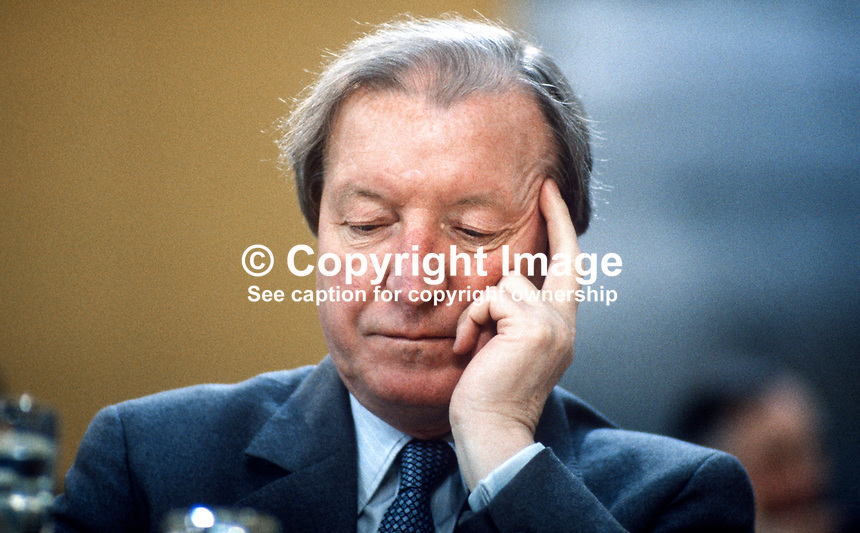 Charles Haughey, TD, leader, Fianna Fail, opposition party, Rep of Ireland, photographed at April 1984 Ard Fheis i.e. party conference, 19840048CH1..Copyright Image from Victor Patterson, 54 Dorchester Park, Belfast, UK, BT9 6RJ..Tel: +44 28 9066 1296.Mob: +44 7802 353836.Voicemail +44 20 8816 7153.Skype: victorpattersonbelfast.Email: victorpatterson@me.com.Email: victorpatterson@ireland.com (back-up)..IMPORTANT: If you wish to use this image or any other of my images please go to www.victorpatterson.com and click on the Terms & Conditions. Then contact me by email or phone with the reference number(s) of the image(s) concerned.