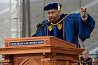May 17, 2015; Laetare Medal awardee Aaron Neville addresses the graduating class at the 2015 Commencement ceremony. (Photo by Matt Cashore/University of Notre Dame)