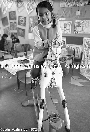 On the rocking horse, Vittoria Primary School, Islington, London.  1970.