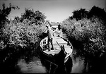 Tight channel through seasonal wetland.  A semi-nomad family navigates several boats tied together to form a floating caravan in a narrow channel cut through a wetland, flooded during the monsoon, as regularly changing water levels prompt them to try their fortunes elsewhere, near Prek Toal, Tonle Sap, Cambodia.