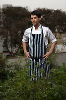 Virgilio Martinez, chef and owner of Central, poses for a portrait at the restaurant's rooftop orchard.