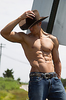 sexy shirtless cowboy outdoors