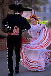 Mexican dancer performs at Historic Olvera Street downtown Los Angeles, California USA.