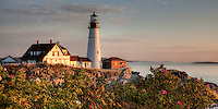 The Portland Head Light, built in 1791, protects mariners entering Casco Bay.  The lighthouse is located in Fort Williams Park, Cape Elizabeth, Maine.