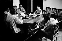 A rare photograph of the National League for Democracy Executive Committee meeting in Aung San Suu Kyi's house. From left to right are U Aung Shwe, U Kyi Maung, U Tin Oo, Aung San Suu Kyi and U Lwin. All of them (apart for Suu Kyi) served in the military and fought in both the second world war and in Burma's ongoing civil war. U Kyi Maung was imprisoned twice for a total of seven years on suspicion of opposing the army and U Tin U has served a total of 12 years in the infamous Insein prison.
