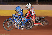 Heat 9: Ben Hopwood (blue) ahead of Shawn McConnell - Hackney Hawks vs Team America - Speedway Challenge Meeting at Rye House - 09/04/11 - MANDATORY CREDIT: Gavin Ellis/TGSPHOTO - Self billing applies where appropriate - Tel: 0845 094 6026