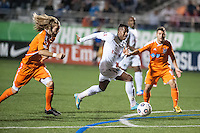 HEMPSTEAD, NY – OCTOBER 12: Diomar Diaz of the New York Cosmos scores against the Carolina RailHawks during an NASL match on October 12, 2013 at  Shuart Stadium in Hempstead, New York.