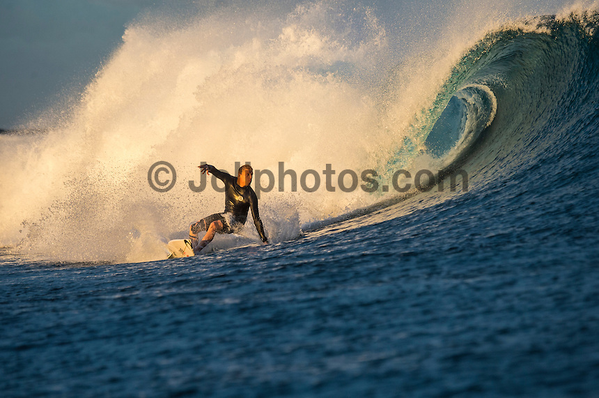 Namotu Island Resort, Namotu, Fiji. (Wednesday June 4, 2014) Mick Fanning (AUS)  – Free surfing session went down this morning while organises debated a starting time for the Fiji Pro. Photo: joliphotos.com