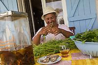 France, &icirc;le de la R&eacute;union, Chaloupe Saint-Leu,  Maximilia Vitry trie les  br&egrave;des de chouchou pour le repas &agrave; la ferme, le rhum arrang&eacute; aux herbes est d&eacute;ja sur la table  //  France, Reunion island (French overseas department),Chaloupe Saint Leu, Maximilia Vitry sorts the   chayotte  br&egrave;des for meat at the farm, the rum with herbs is already   served<br /> <br /> Auto N&deg;: 2014-110