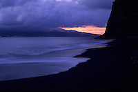 Black sands are a characteristic feature of volcanic islands. Praia de Almoxarife, Faial, Açores, 2005