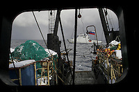 Coastguard inpectors on board russian trawler, Severnaya Zvezda which caught too much Red Fish and thus ordered to leave the area. Coastguard vessel KV Svalbard patrols the northermost waters of Norway, including around the islands that she is named after. The main task is inspecting fishing boats, but she also performs search and rescue missions, and environmental monitoring.