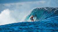 Namotu Island Resort, Fiji. Friday March 27 2015) Andy Schwartz (AUS) at Cloudbreak- The surf was in the 4'-6' range this morning with  clear skies and light SE Trade winds. The  guests had sessions at Namotu Lefts, and Cloudbreak. Today's surf is the best it's been all week with the inside section of Cloudbreak barrelling.Photo: joliphotos.com
