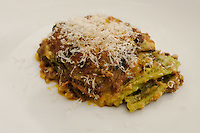 The first course of green lasagne, bolognese style € 14 at Pappagallo, Bologna. The Pappagallo Restaurant in Bologna was established in 1919. It continues to serve traditional Bolognese cuisine. Photo Sydney Low