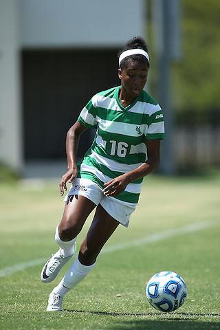 DENTON, TX- AUGUST 25: Rachel Holden #16 of the North Texas Mean Green - Houston Baptist vs North Texas Mean Green Soccer at Mean Green Village Soccer Field in Denton on August 25, 2013 in Denton, Texas. Photo by Rick Yeatts