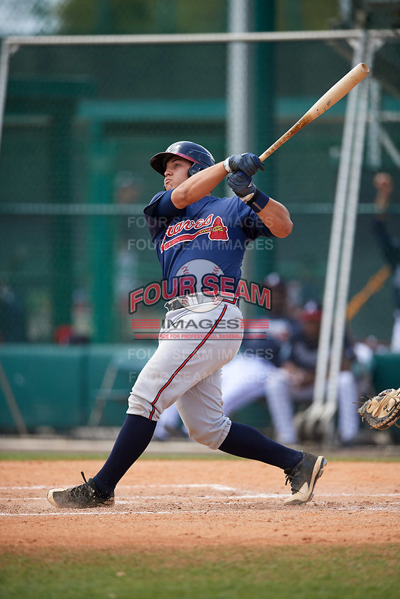 Atlanta Braves Alex Jackson (55) during a minor league Spring Training game against the Detroit Tigers on March 25, 2017 at ESPN Wide World of Sports Complex in Orlando, Florida.  (Mike Janes/Four Seam Images)