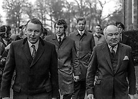 New Secretary of State for N Ireland, Francis Pym, left, who had just arrived by helicopter at Stormont Castle, Belfast, N Ireland, to take up the post on 4th December 1973. With him (on right) is existing N Ireland minister, Sir William van Straubenzee. 197312040743a<br />