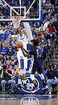 Freshman forward Willie Cauley-Stein jumps to block freshman guard Russell Wilson during the second half of the Men's Basketball game vs. Samford at the Rupp Arena in Lexington, Ky., on Tuesday, December 4th, 2012..