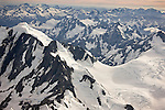 Aerial of the Southern Alps, New Zealand.