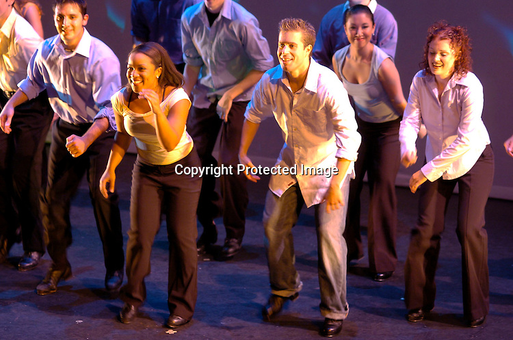 "Michael Minery and the cast ..at a performance of "" Michael Minery's Tapaholics"", a part of the International Dance Fesival NYC on August 7, 2004 ..at the Duke Theatre. ..Photo by Robin Platzer, Twin Images"