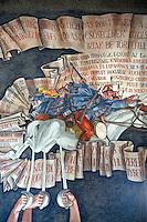 Frescos of Miklós Horthy  by Vilmos Aba-Novák (1937). Hero Gate First  World War Memorial  - Szeged, Hungary