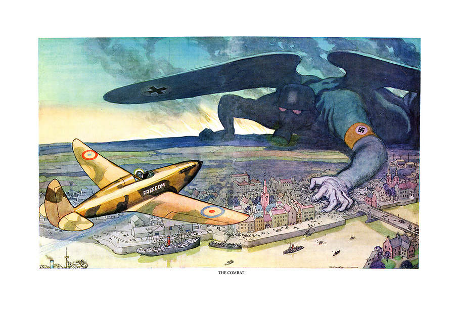 The Combat. (a WW2 cartoon shows a lone Spitfire-type fighter plane with British and French markings taking on the German Luftwaffe as an invading monster over a European city)