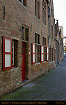 Street Scene: 16th c. Canal Houses on the Groenerei, Bruges, Brugge, Belgium