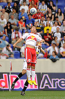 Connor Chinn (25) of the New York Red Bulls goes up for a header. The New York Red Bulls defeated Juventus F. C. 3-1 during a friendly at Red Bull Arena in Harrison, NJ, on May 23, 2010.