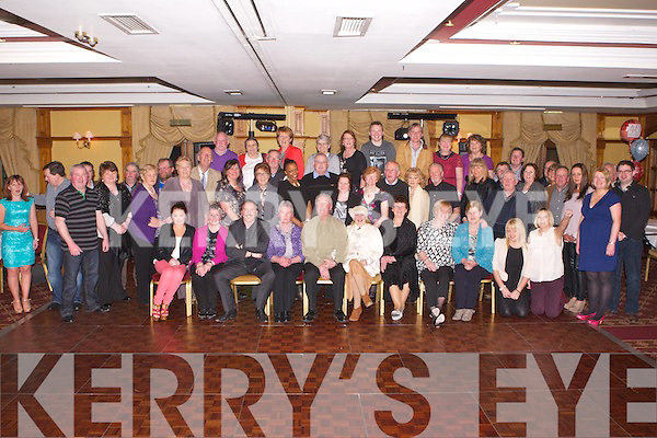 RUBY ANNIVERSARY: Robbie Kelly and Mary McCord-Kelly, Fenit (seated centre) having a great time celebrating their Ruby wedding anniversary with a very large group of family and friends at the Meadowlands hotel, Tralee on Friday...