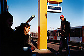 Youths wait on the platform in the Spaklerweg metro in the inner city area of Bijlmer..Picture taken 2005 by Justin Jin