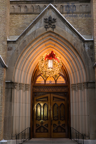 Main door of the Basilica of the Sacred Heart at Christmas