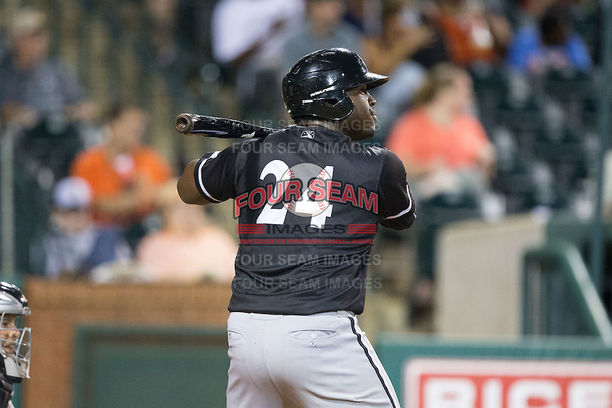KJ Woods (24) of the Kannapolis Intimidators at bat against the Greensboro Grasshoppers at NewBridge Bank Park on July 7, 2016 in Greensboro, North Carolina.  The Dash defeated the Pelicans 13-9.  (Brian Westerholt/Four Seam Images)