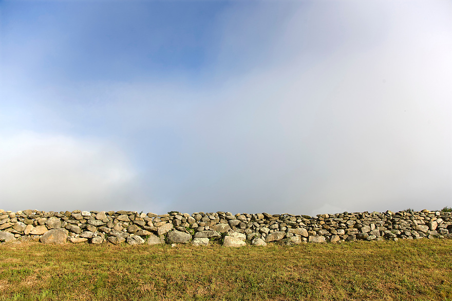 Stone walls line country roads in the town of Chilmark on the island of Martha's Vineyard off Cape Cod in Massachusetts.  .....................