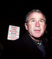 George W. Bush walking through a drug -free zone while campaigning in New hampshire in 2000.