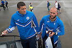 FC Luzern v St Johnstone...16.07.14  Europa League 2nd Round Qualifier<br /> Keepers Alan Mannus and Stevie Banks board the plane at Edinburgh heading for Basel in Switzerland ahead of tomorrow's game against FC Luzern<br /> Picture by Graeme Hart.<br /> Copyright Perthshire Picture Agency<br /> Tel: 01738 623350  Mobile: 07990 594431
