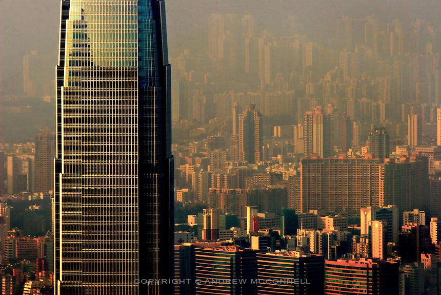 Overlooking Hong Kong and the IFC2 Tower. With 7250 buildings above 12 storeys it has become the skyscraper capital of the world.