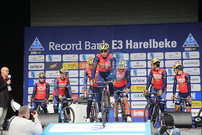 Bahrain-Merida team presented to the crowd before the start of the 60th edition of the Record Bank E3 Harelbeke 2017, Flanders, Belgium. 24th March 2017.<br /> Picture: Eoin Clarke | Cyclefile<br /> <br /> <br /> All photos usage must carry mandatory copyright credit (&copy; Cyclefile | Eoin Clarke)