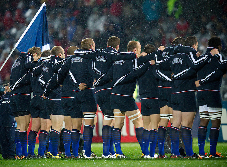 France team during the national anthems prior to kick off against Canada at the pool A match, 2011 Rugby World Cup, McLean Park, Napier, New Zealand, Sunday September18, 2011.  Credit: SNPA / Bethelle McFedries