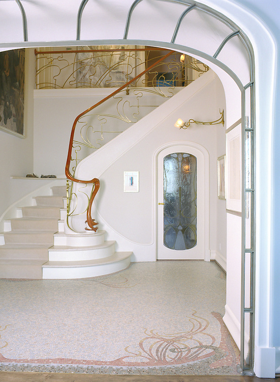 Custom Art Nouveau foyer floor in Travertine White, Renaissance Bronze, Crema Marfil, Red Lake, Aegean Brown, Rosa Verona, Giallo Reale, Breccia Pernice
