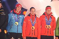 SCHAATSEN: AMSTERDAM: Olympisch Stadion, 28-02-2014, KPN NK Sprint/Allround, Coolste Baan van Nederland, Huldiging Olympische medaillewinnaars, Margot Boer, Marrit Leenstra, Lotte van Beek, ©foto Martin de Jong