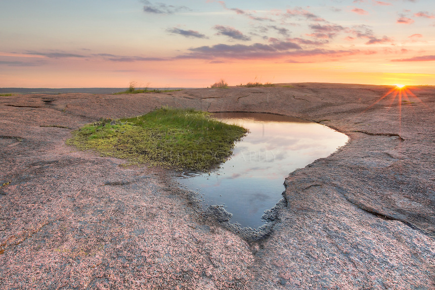 A vernal pool atop Enchanted Rock in the Texas Hill Country sits in the evening glow of sunet on a May evening. This little pool looked much like a heart or an arrowhead, so I named this the Heart Pool. Of course, with these pools constantly changing shape, it will look different within days.
