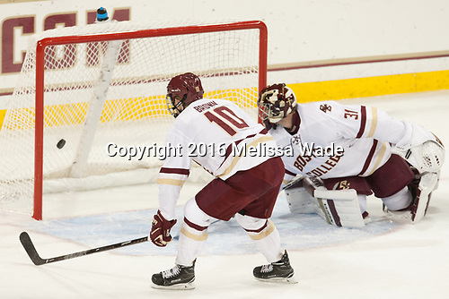 Christopher Brown (BC - 10), Joe Woll (BC - 31) - The Boston College Eagles defeated the visiting Providence College Friars 3-1 on Friday, October 28, 2016, at Kelley Rink in Conte Forum in Chestnut Hill, Massachusetts.The Boston College Eagles defeated the visiting Providence College Friars 3-1 on Friday, October 28, 2016, at Kelley Rink in Conte Forum in Chestnut Hill, Massachusetts.