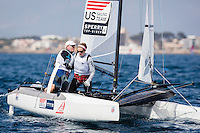 20140331, Palma de Mallorca, Spain: SOFIA TROPHY 2014 - 850 sailors from 50 countries compete at the ISAF Sailing World Cup event. Nacra17 - USA038 - Robert Daniel / Catherine Shanahan. Photo: Mick Anderson/SAILINGPIX.