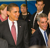 Chicago, Il - December 16, 2008 -- United States President-elect Barack Obama, left, with Chief of Staff Rahm Emanuel, right, after announcing the nomination of Chicago School Chief Arne Duncan to be his Secretary of Education at a news conference at Dodge Renaissance Academy on Chicago's West Side..Credit: Ralf-Finn Hestoft - Pool via CNP