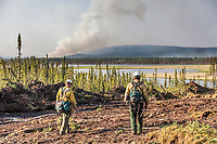Preparations for a controlled burn at the Eagle Trail forest fire near Tok, Alaska, May, 2010.