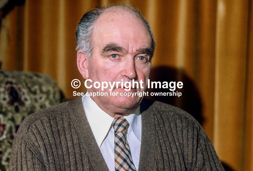 Harry West, former leader, Ulster Unionist Party, N Ireland, who is a candidate in the 9th April 1981 Fermanagh & South Tyrone UK parliamentary by-election in which he is opposing Provisional IRA hunger striker Bobby Sands for the seat. The by-election was triggered by the death of the sitting member, Frank Maguire. 198103000072HW1..Copyright Image from Victor Patterson, 54 Dorchester Park, Belfast, United Kingdom, UK...For my Terms and Conditions of Use go to http://www.victorpatterson.com/Victor_Patterson/Terms_%26_Conditions.html