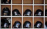 13 July 2008: Houston Astros' Batting Helmets lie ready in the dugout bins prior to a game against the Washington Nationals at Nationals Park in Washington, DC. The Astros shut out the Nationals 5-0 to take the rubber match of their 3-game series, as both teams head into the All-Star break and the second half of the 2008 season...Mandatory Photo Credit: Ed Wolfstein Photo