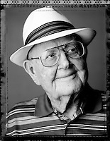 Portrait of golf legend Byron Nelson, photographed at Fairway Ranch, his home in Roanoke, Texas on September 12, 2006. Photograph copyright 2006 Darren Carroll.